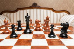 1849 Original Staunton Luxury Chess Pieces in Antiqued Boxwood and Ebony