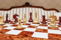 The Apollo Series 4.4 inches Chessmen in Lacquered Padauk and Boxwood