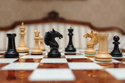 The Apollo Series Chess Pieces in Lacquered Ebony and Boxwood