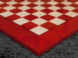 Bologna – 51 cm hand-made Italian Red Erable Luxury Chess Board with 5 cm squares