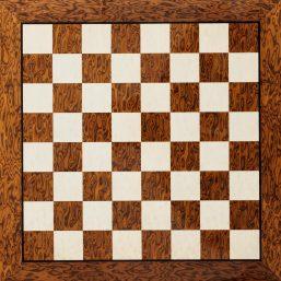Cordoba, a 50 cm Brown Ash Burl chess board from above