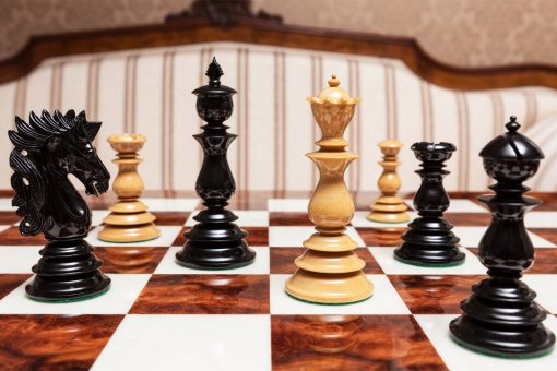 The Dali Series Lacquered Luxury Chess Pieces in Ebony and Boxwood