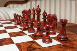Duke 4.4 inch chess pieces in Lacquered Padauk