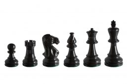 Earl Black 3.75 inch tournament-size chess pieces in Coloured Boxwood