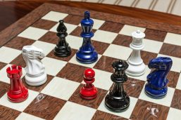 Black, Navy Blue, Red and White Chess Pieces of the Earl Series