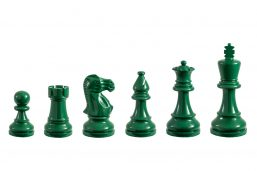 Earl Green 3.75 inch tournament-size chess pieces in Coloured Boxwood