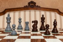 """Earl Grey and Brown Chess Pieces on the 50 cm """"Cordoba"""" Chess Board"""