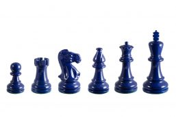 Earl Navy Blue 3.75 inches tournament-size chess pieces in Coloured Boxwood
