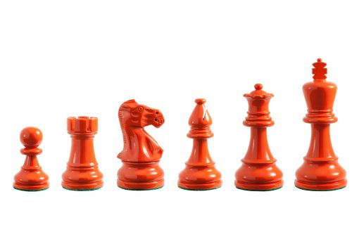 Earl Orange 3.75 inch tournament-size chess pieces in Coloured Boxwood