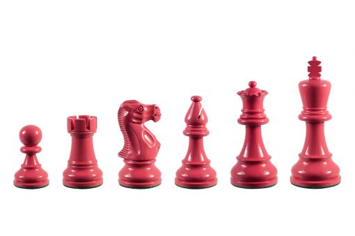 Earl Pink 3.75 inch tournament-size chess pieces in Coloured Boxwood