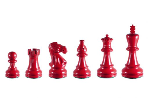 Earl Red 3.75 inch tournament-size chess pieces in Coloured Boxwood