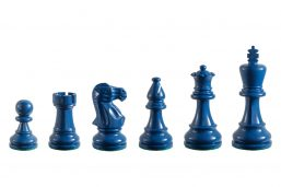Earl Steel Blue 3.75 inch tournament-size chess pieces in Coloured Boxwood