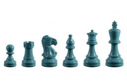 Earl Turquoise 3.75 inch tournament-size chess pieces in Coloured Boxwood