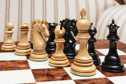 The Granada Series Luxury Chessmen in Lacquered Ebony and Boxwood