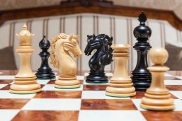 The Granada Luxury Chess Pieces in Boxwood and Ebony
