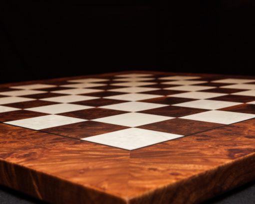 Pisa – 51 cm hand-made Root-of-Elm luxury chess board with matt finish