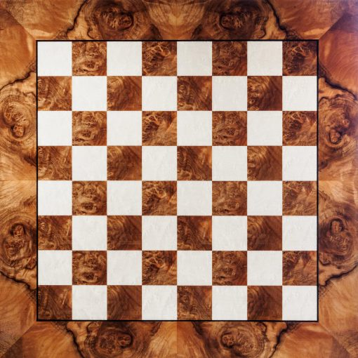 Siena - high-gloss 60 cm, 6 cm Square-Sized Walnut Luxury Chess Board from above